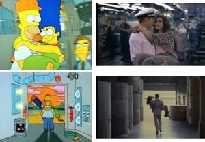 Ufficiale e gentiluomo (1981) come Richard Gere, Homer Simpson prende in braccio la sua Marge e la porta via dalla fabbrica