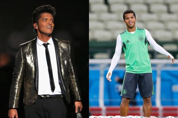 Le star del calcio e il loro sosia hollywoodiani Bruno Mars e il messicano Giovani Dos Santos