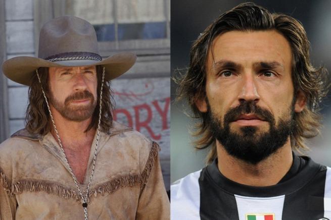Le star del calcio e il loro sosia hollywoodiani Chuck Norris e il centrocampista italiano Andrea Pirlo