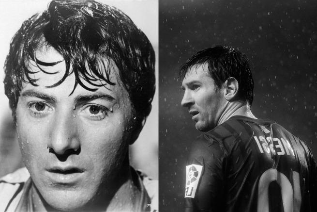 Le star del calcio e il loro sosia hollywoodiani Dustin Hoffman e l'ex pallone d'oro Lionel Messi