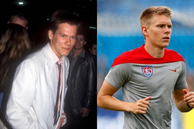 Le star del calcio e il loro sosia hollywoodiani Kevin Bacon and Aron Johannsson attaccante degli USA
