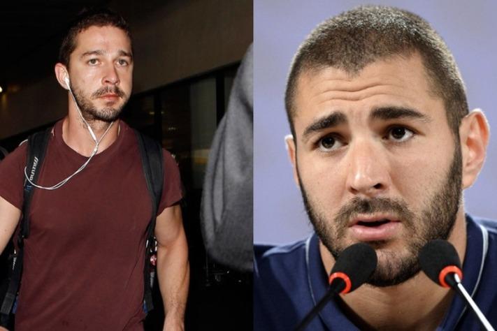 Le star del calcio e il loro sosia hollywoodiani Shia Lebeouf e il fuoriclasse francese Karim Benzem
