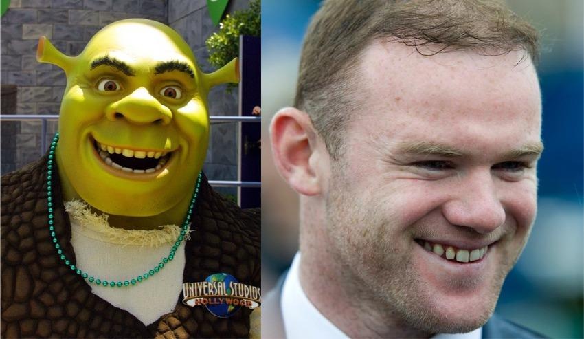 Le star del calcio e il loro sosia hollywoodiani Shrek e l'attaccante inglese Wayne Rooney