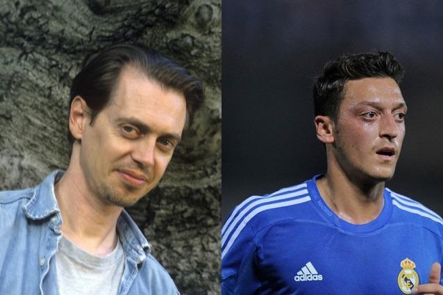 Le star del calcio e il loro sosia hollywoodiani Steve Buscemi e centrocampista tedesco di origine turca Mesut Ozil