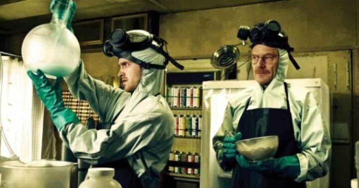 Breaking Bad, Vince Gilligan, Bryan Cranston, Walter White, Aaron Paul, Jesse Pinkman, laboratorio, sostanze chimiche