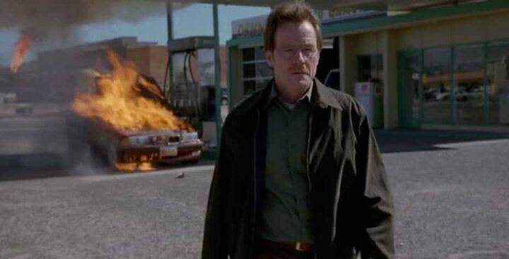 Breaking Bad, Vince Gilligan, Bryan Cranston, Walter White, macchina che brucia al distributore - Breaking Bad citazioni e dialoghi