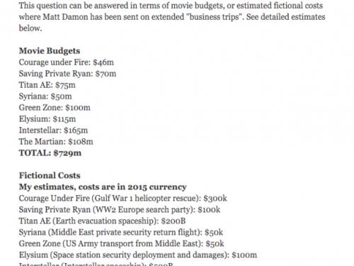 Quanti soldi hanno speso per salvare Matt Damon