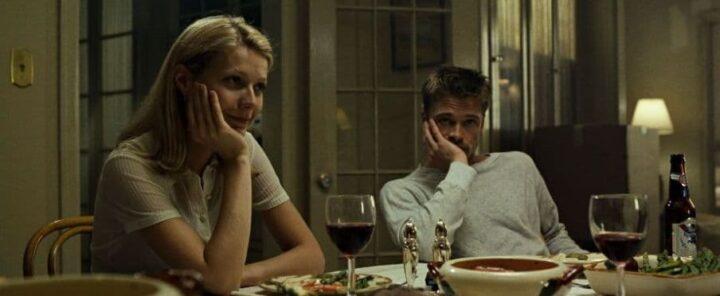 Brad Pitt ferito in Seven, 1995, David Fincher, Brad Pitt, Gwyneth Paltrow, cena, vino