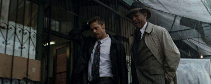 Morgan Freeman cerca di salvare le api dall'estinzione - Seven, 1995, David Fincher, Brad Pitt, Morgan Freeman, pioggia