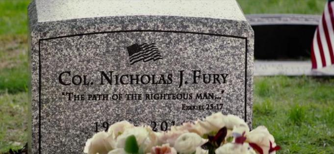 La tomba di Nick Fury in Captain America: The Winter Soldier