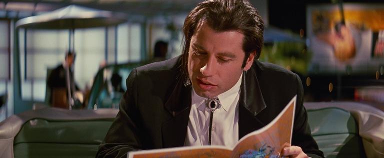Pulp Fiction citazioni e dialoghi della pellicola di Quentin Tarantino, John Travolta, Vincent Vega, menù