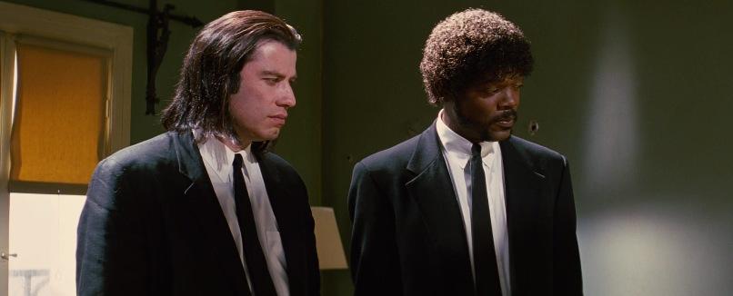 Pulp Fiction citazioni e dialoghi di Quentin Tarantino, John Travolta, Vincent Vega e Samuel L. Jackson, Jules Winnfield, maglietta, abito nero