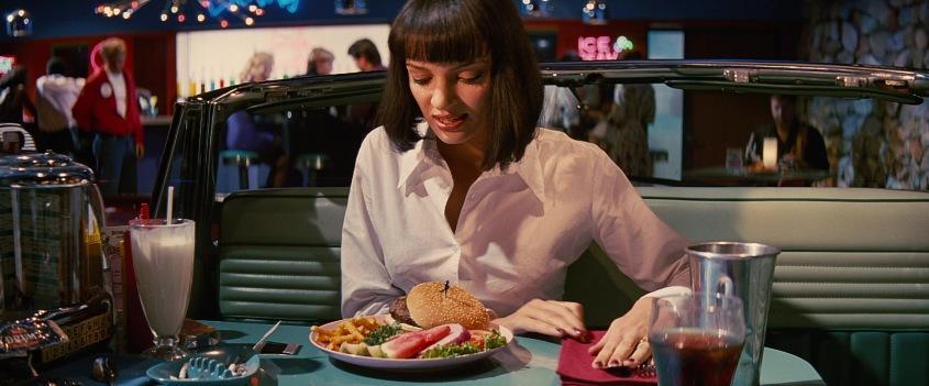 Pulp Fiction citazioni e dialoghi di Quentin Tarantino, Uma Thurman, Mia Wallace, hamburger