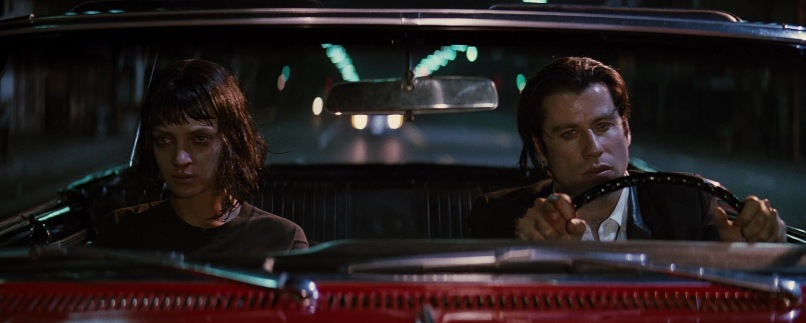 Pulp Fiction citazioni e dialoghi di Quentin Tarantino, Uma Thurman, Mia Wallace, John Travolta, Vincent Vega, macchina