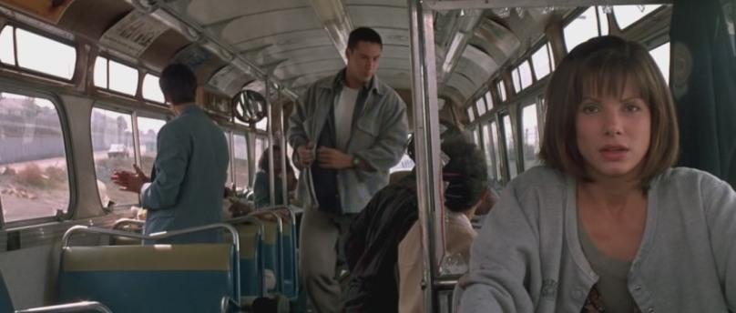 Speed citazioni e dialoghi di Jan de Bont con Keanu Reeves, Dennis Hopper e Sandra Bullock che guida il bus