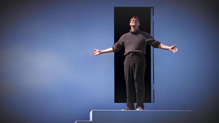 The Truman Show citazioni e dialoghi della pellicola di Peter Weir con Jim Carrey, spy cam, porta