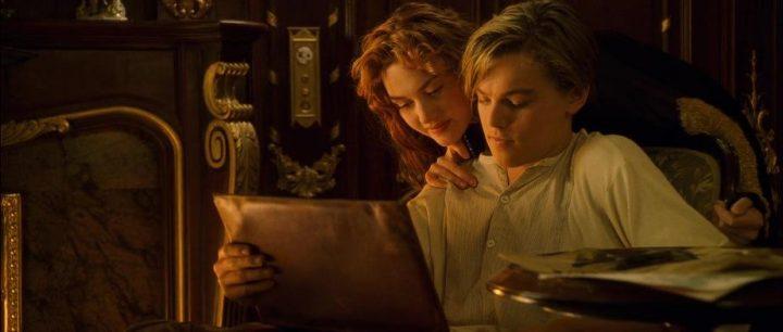 Scena del ritratto di Titanic con protagonista Kate Winslet. Titanic, 1997, James Cameron, Leonardo DiCaprio, Kate Winslet, ritratto, Jack, Rose