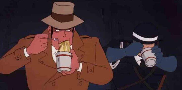 Lupin III - Il castello di Cagliostro, anime, 1979, Hayao Miyazaki, Koichi Zenigata, cibo, Udon