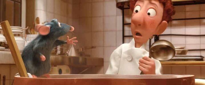 Ratatouille, 2007, Brad Bird, Jan Pinkava, Pixar, Rémy, Alfredo Linguini, mestolo, pentola