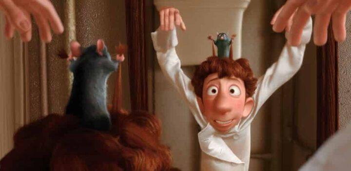 Ratatouille, 2007, Brad Bird, Jan Pinkava, Pixar, Rémy, Alfredo Linguini, specchio