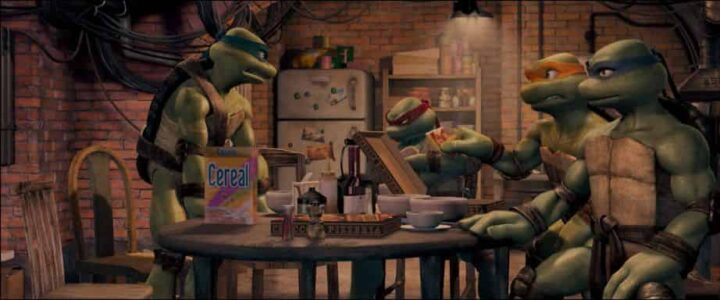 TMNT, Teenage Mutant Ninja Turtles, 2007, Kevin Munroe, Leonardo, Donatello, Michelangelo, Raffaello, pizza
