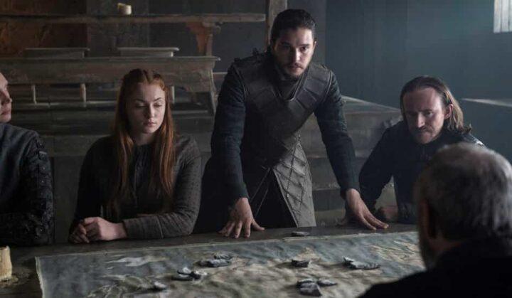 Game of Thrones, Jon Snow, Kit Harington, Sansa Stark, Sophie Turner, mappa