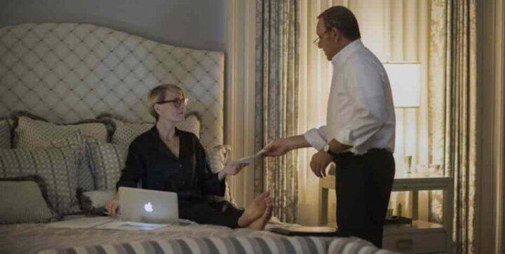 House of Cards - Gli intrighi del potere, Kevin Spacey, Frank Underwood, Robin Wright, Claire Underwood, letto