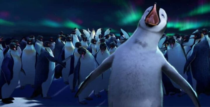 Happy Feet, 2006, George Miller, aurora australe, canto, pinguini