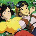 Laputa - Castello nel cielo, 1986, Hayao Miyazaki, animazione, Pazu, Sheeta, prato