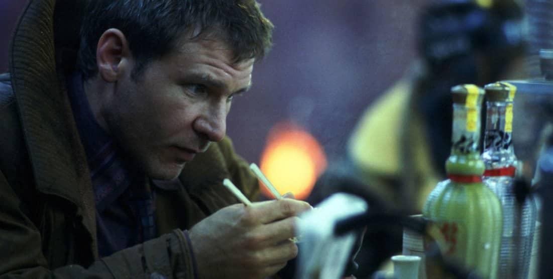 Blade Runner, 1982, Ridley Scott, Harrison Ford, Rick Deckard, cibo, bacchette, cinese